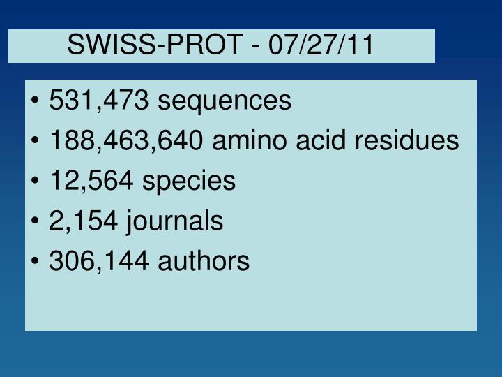 SWISS-PROT - 07/27/11