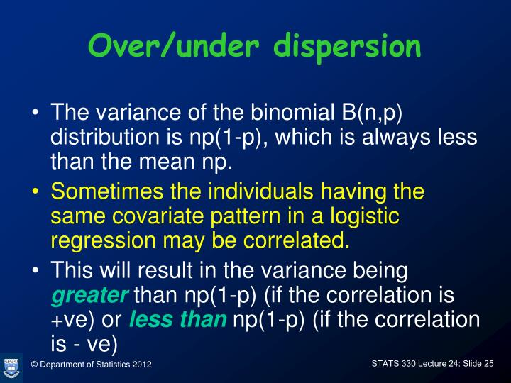 Over/under dispersion