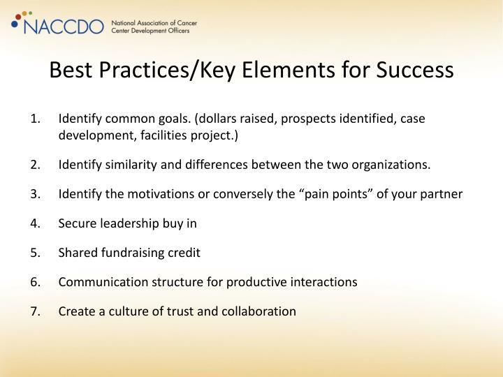 Best Practices/Key Elements for Success
