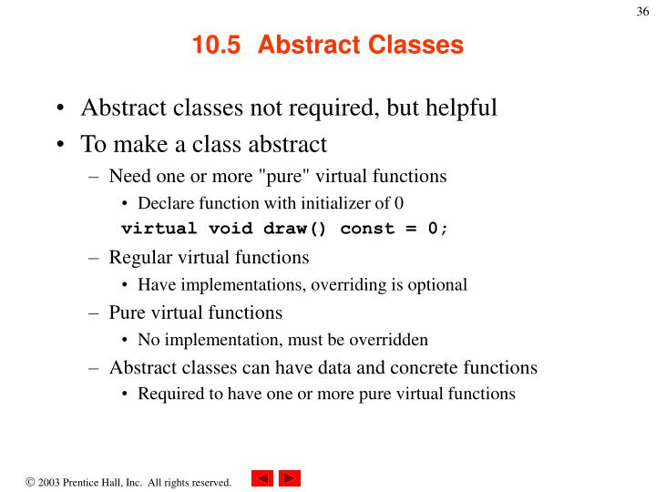 10.5  	Abstract Classes