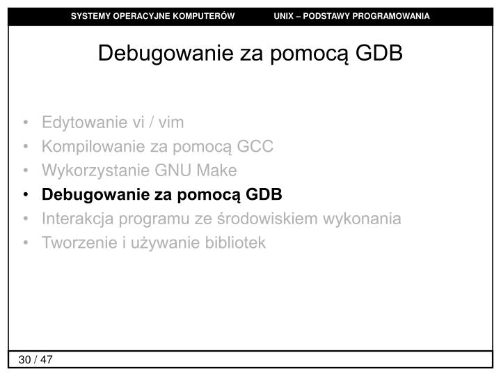 Debugowanie za pomocą GDB