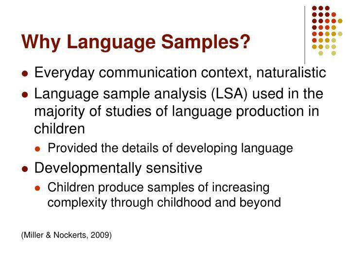 Why language samples