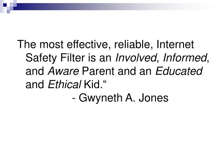 The most effective, reliable, Internet Safety Filter is an
