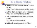 how to disable a menu item