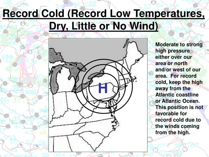 record cold record low temperatures dry little or no wind n.