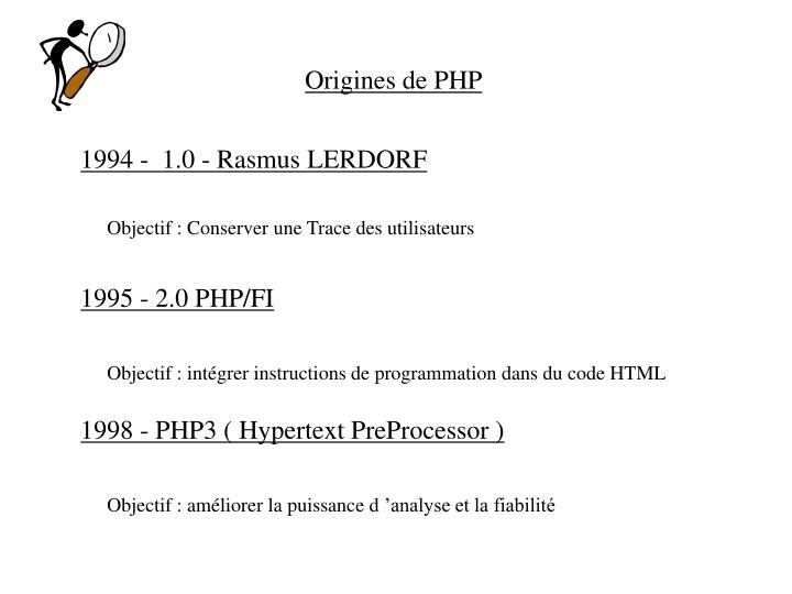Origines de PHP