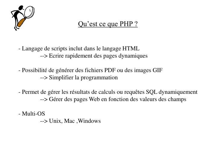 Qu'est ce que PHP ?