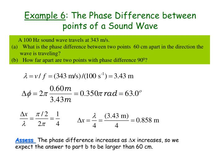 Example 6 the phase difference between points of a sound wave