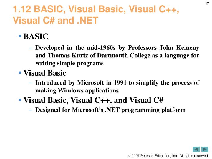 1.12 BASIC, Visual Basic, Visual C++, Visual C# and .NET