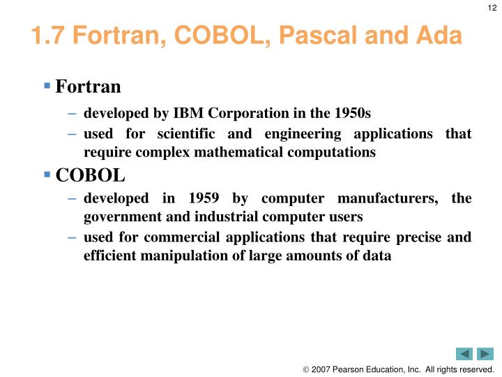 1.7 Fortran, COBOL, Pascal and Ada