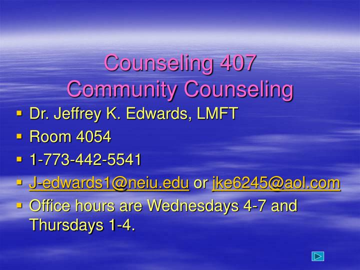 counseling 407 community counseling n.