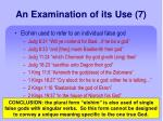 an examination of its use 7