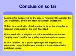 conclusion so far