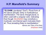 h p mansfield s summary