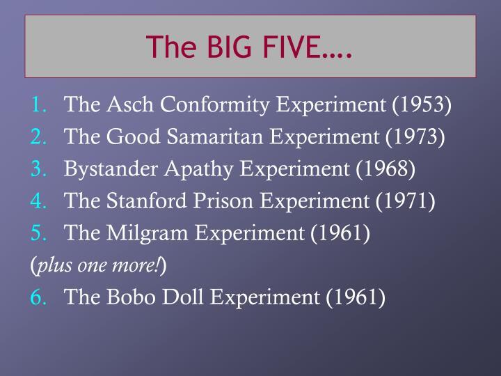 The BIG FIVE….