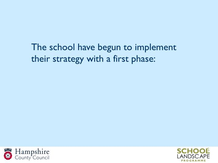 The school have begun to implement their strategy with a first phase: