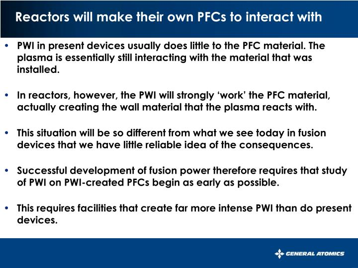 Reactors will make their own pfcs to interact with