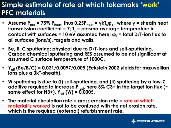 Simple estimate of rate at which tokamaks work pfc materials