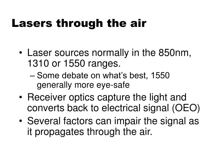 Lasers through the air