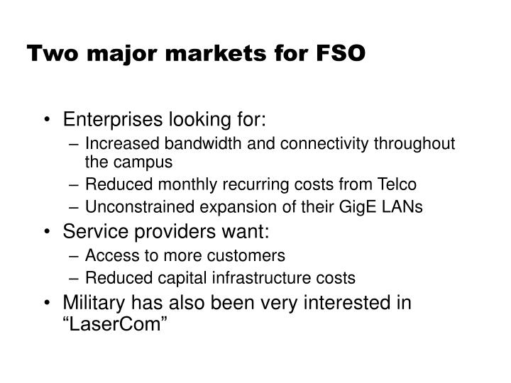 Two major markets for FSO