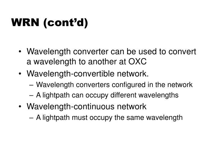 WRN (cont'd)