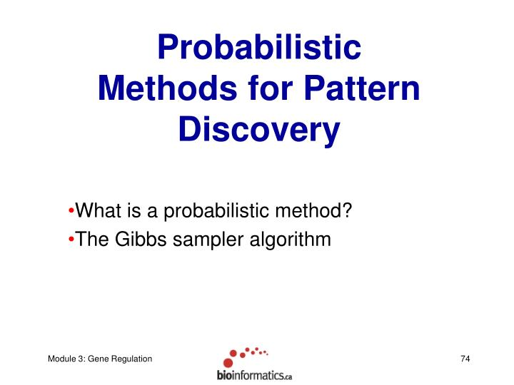 Probabilistic Methods for Pattern Discovery