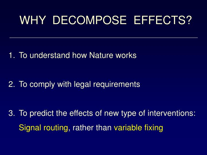 WHY  DECOMPOSE  EFFECTS?