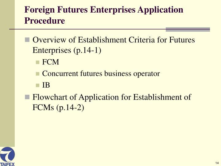 Foreign Futures Enterprises Application Procedure