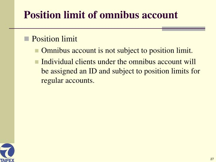 Position limit of omnibus account