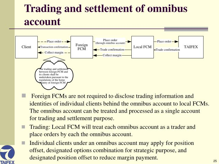 Trading and settlement of omnibus account
