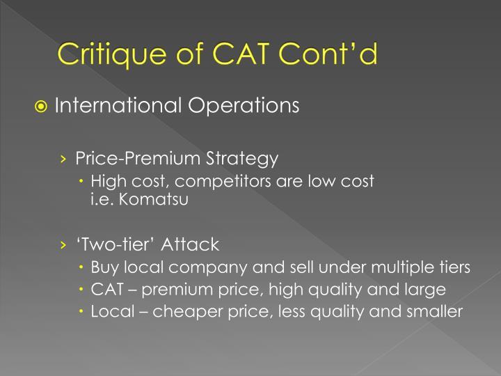 Critique of CAT Cont'd