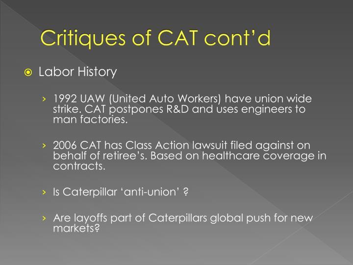 Critiques of CAT cont'd
