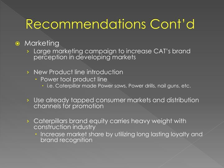 Recommendations Cont'd