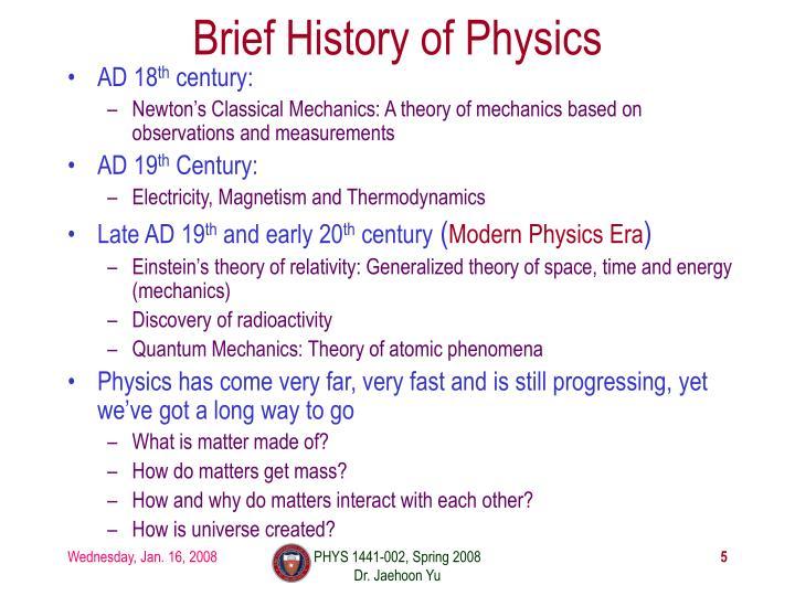 Brief History of Physics