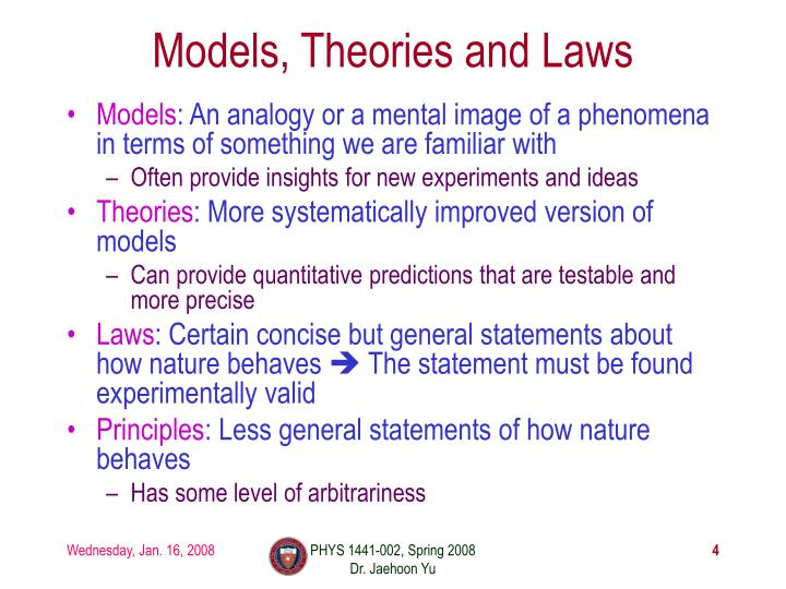 Models, Theories and Laws