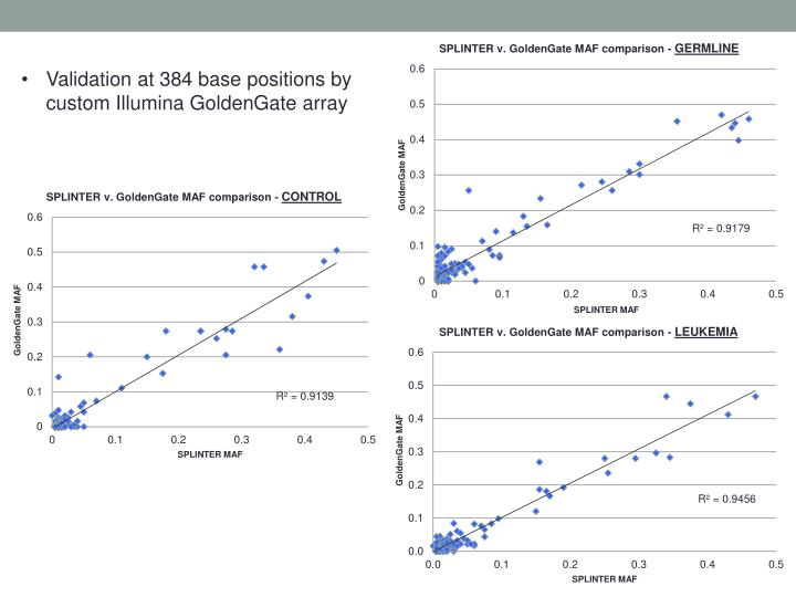 Validation at 384 base positions by custom Illumina GoldenGate array