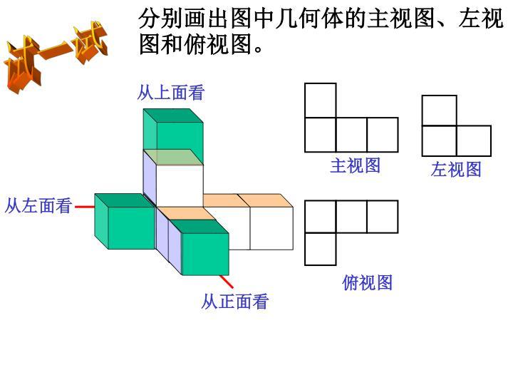 分别画出图中几何体的主视图、左视图和俯视图。