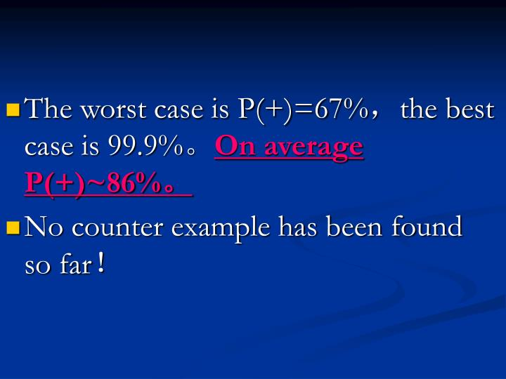 The worst case is P(+)=67%
