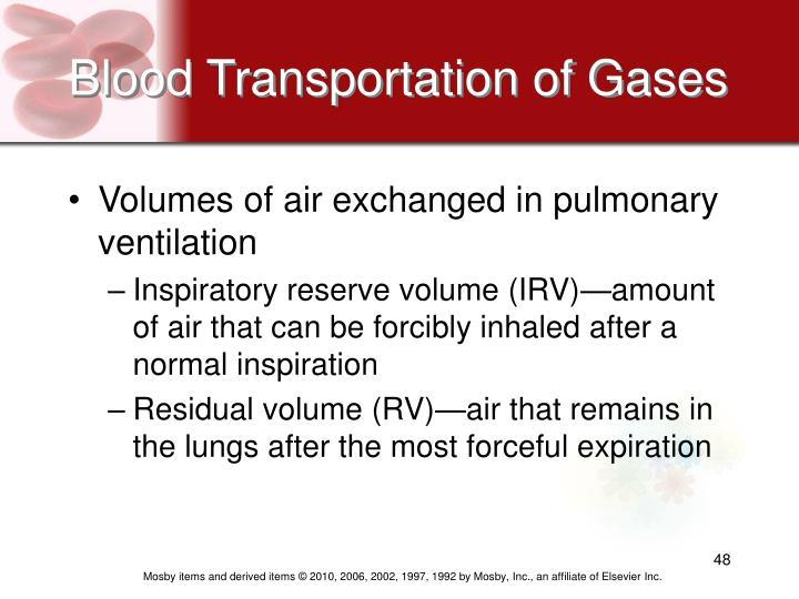 Blood Transportation of Gases