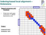 indexing based local alignment extensions