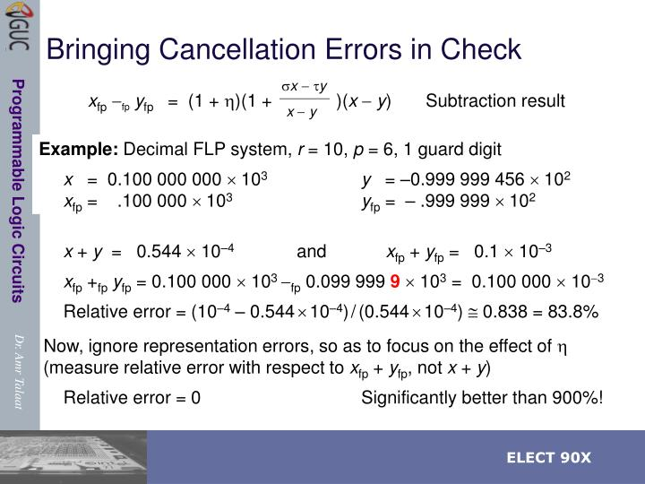 Bringing Cancellation Errors in Check