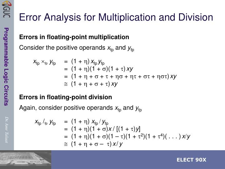 Error Analysis for Multiplication and Division