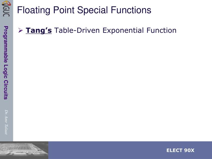 Floating Point Special Functions