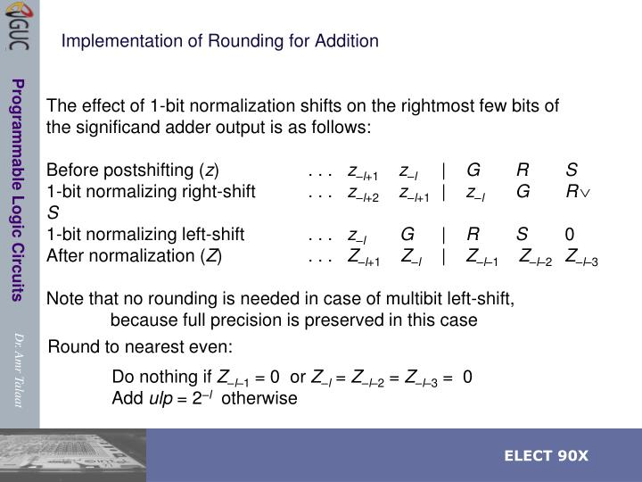 Implementation of Rounding for Addition