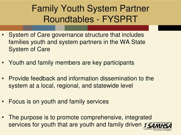 Family Youth System Partner Roundtables - FYSPRT