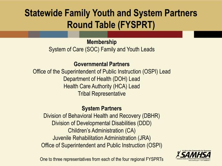 Statewide Family Youth and System Partners Round Table (FYSPRT)