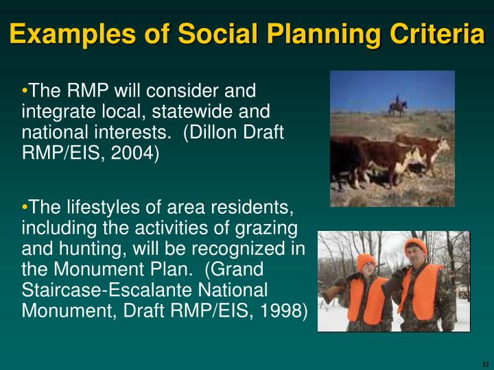 Examples of Social Planning Criteria