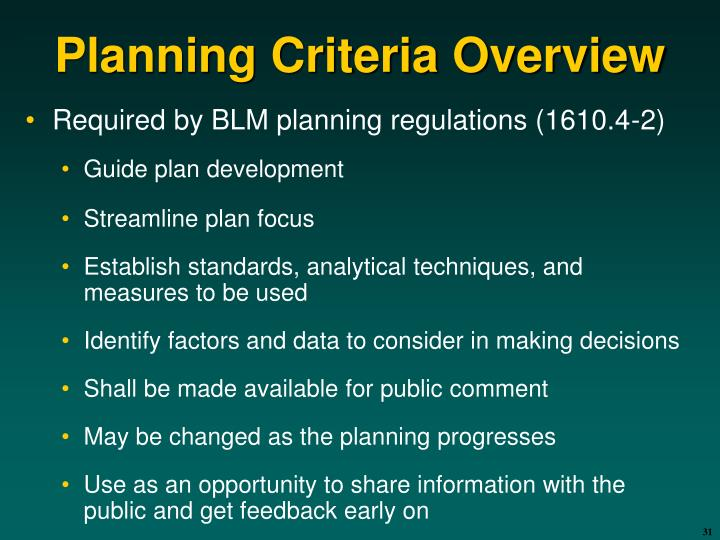 Planning Criteria Overview