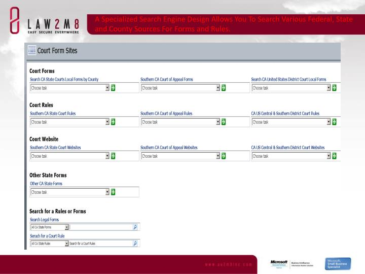 A Specialized Search Engine Design Allows You To Search Various Federal, State and County Sources For Forms and Rules.