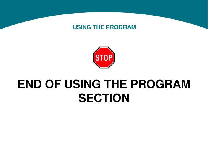 USING THE PROGRAM